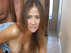 pitch-dark milf facial