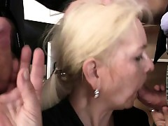 Granny takes three cocks at..