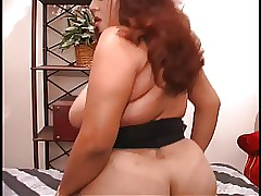 Curvy Latina rides dildo out of..