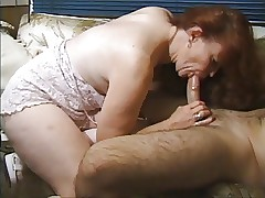 Redhead granny gets on the go